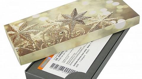 Geschenkkarton - Motiv: Goldene Sterne